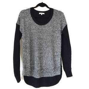 Madewell color block high low sweater black white